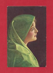 STENGEL & CO MARIA PORTRAIT WOMAN IN GREEN BY WILHELM HUNGER VTG POSTCARD #29297