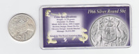 1966 round Silver 50 Cent Coin first year of issue in display with history