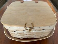 Longaberger Rare Natural Unstained Small Picnic Basket Combo 1999 Euc