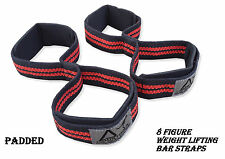 AUSTODEX WEIGHT LIFTING FIGURE 8 STRAPS PADDED GYM BAR FITNESS GLOVES LOOP WRAPS
