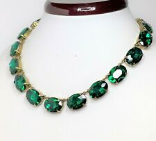 Green Rhinestone Crystal Antique Brass Necklace Georgian Collet Women Gift Boxed