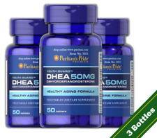 Puritan's Pride DHEA 50mg Build Muscle Burn Fat Weight Loss 3 PACK Exp: 04/2021