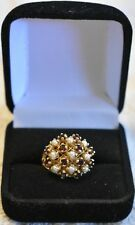 Antique 14k Yellow Gold Pearls and Red Garnet 9.8g Ring size 7