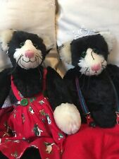 Pair of JO GREENO artist collectable Mohair character teddy bears CATS