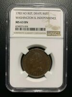 1783 Washington & Independence Cent NGC MS63 EAC Colonial Copper Draped Bust