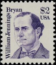 1986 $2 William Jennings Bryan, 41st Secretary of State Scott 2195 Mint F/VF NH