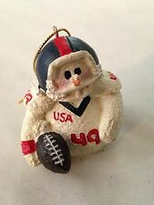 "White 2"" Snowman Football Player Marked Usa 49 Ornament Figurine"