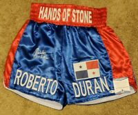 Roberto Duran Signed Hands Of Stone Boxing Trunks Beckett Witnessed COA