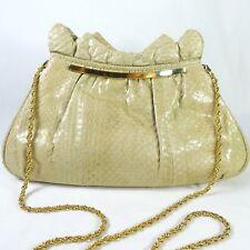 Beige Snakeskin Handbag Kiss Lock Clasp Gold Tone Chain