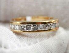 LADIES 14K YELLOW GOLD ASSCHER CUT DIAMONDS WEDDING BAND. 4MM WIDE, SIZE 4
