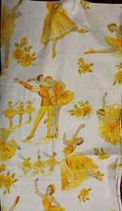 Vintage Large Yellow BALLERINA Themed Fabric Remnant (40cm x 65cm)