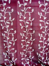 SET of 2 Sheer Embroidered Curtain Panels Burgundy Climbing Vines Leaves Grommet