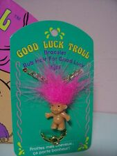 "Childrens' Troll Bracelet - 1"" Russ Troll Doll - New On Card"