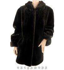 Manteau Fausse Fourrure T 48 / 50 XXL marron Soirée Fête poches TBE coat Mantel