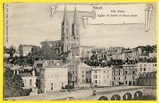 cpa Cartouche 79 - NIORT (Deux Sèvres) VILLE HAUTE EGLISE St ANDRE et Vieux PONT