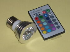 LAMPADA SPOT LED 3W E27 AC100-240V RGB + TELECOMANDO