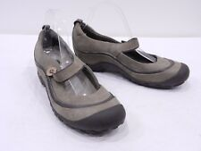 MERRELL Plaza Emme Smoke Womens 10 Beige Brown Leather Mary Jane Strap Clogs