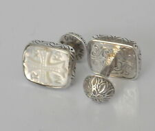 Konstantino Mens Cufflinks MOP Intaglio Carved Cross Sterling Silver New Classic