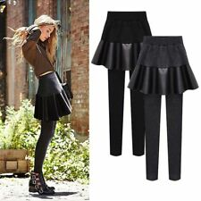 Women High Elastic Waist Fake Two Piece Faux Leather Skirt And Pants Fleece Type