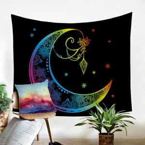 Moon Star Floral Boho Wall Tapestry Hanging Throw Cover Home Room Decoration