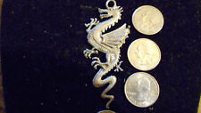 bling pewter China FANTASY DRAGON gothic pendant charm leather hip hop necklace