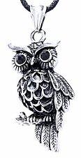 Nr. 27: 3D Eulen Anhänger aus Edelstahl mit Band / Kette Eule Uhu Owl Nachtvogel