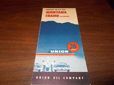 1955 Union 76 Montana/Idaho Vintage Road Map / Nice Cover Graphics