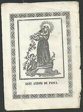 Grabado antiguo de San Antonio de Padua andachtsbild santino holy card santini