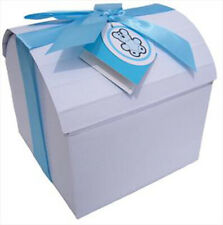 Treasure Chest Gift Box, Ribbon & Tag - Baby Shower, New Baby Gift Basket - BLUE