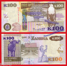 ZAMBIA  100 Kwacha 2014 Pick 54c  SC / UNC