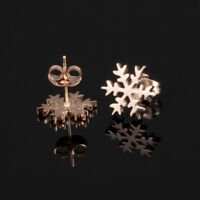 Smooth & Frosted Snowflake Rose Gold GP Surgical Stainless Steel Stud Earrings