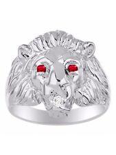 Diamond & Ruby Lion Head Ring Sterling Silver