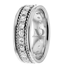 1.12Ctw Twist Rope Diamond Wedding Band 8mm Women's Diamond Wedding Ring 10K