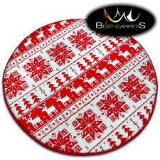 Circle CHRISTMAS RUGS 'XMAS' CARPETS Tree Carpet Raindeer Santa Claus Snow Stars
