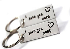 I Love You More, I Love You Most - Hand Stamped Aluminum Key Chain Set