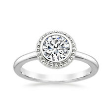 Round Moissanite Engagement Ring Size 6 0023 14K Solid White Gold Rings 1.00 Ct