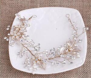 Gold Bridal Headpiece Crystal Hair Headband Diamante Wedding Headdress 1 Piece