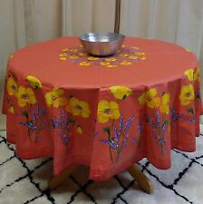 "French Provencal Tablecloth Acrylic Coated Cotton Poppy Salmon Peach 71"" Round"