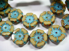 12 beads -  Ivory Turquoise Wash Czech Glass Flower Beads 12mm