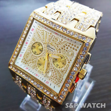 Men's Luxury Hip Hop Gold Plated Designer Style Rapper's Square Metal Band Watch