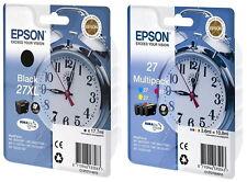 4 Epson Druckerpatronen original Tinte 27 XL T2711 BK / 27 T2705 C/M/Y Multi