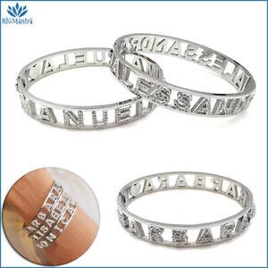 Bracciale da donna rigido con nome in acciaio inox zirconi braccialetto manetta