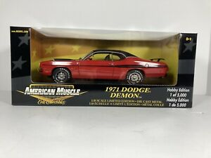 #36678 American Muscle Red/Black Stripes 1971 Dodge Demon Die Cast 1:18 1/5000