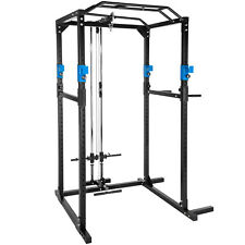 Fitness station home trainer rack cage lat sit pull press chin dip blue black