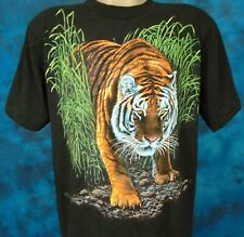 vintage 80s BENGAL TIGER NATURE T-Shirt MEDIUM wild animal cat soft