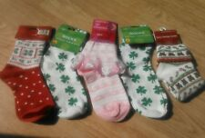 Set 5 Pairs Girls Holiday Christmas St Patricks Day Valentines Teddy Socks NEW