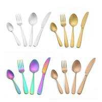 4pcs Portable Travel Home Tableware Set Stainless Steel Spoon Fork Knife Cutlery