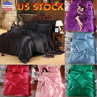 King Size 4 Pcs Satin Silk Bedding Set Duvet Cover Fitted Sheet & 2 Pillow Cases