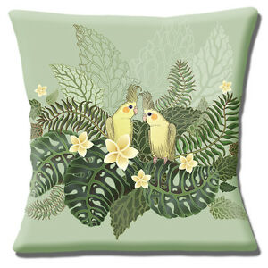 Cockatiel Birds Cushion Cover 16x16 inch 40cm Two Yellow Crested Modern Design