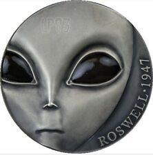 2017 3 Oz Silver  UFO ROSWELL CRASH - ANTIQUE FINISH - GLOW IN THE DARK EYES.
